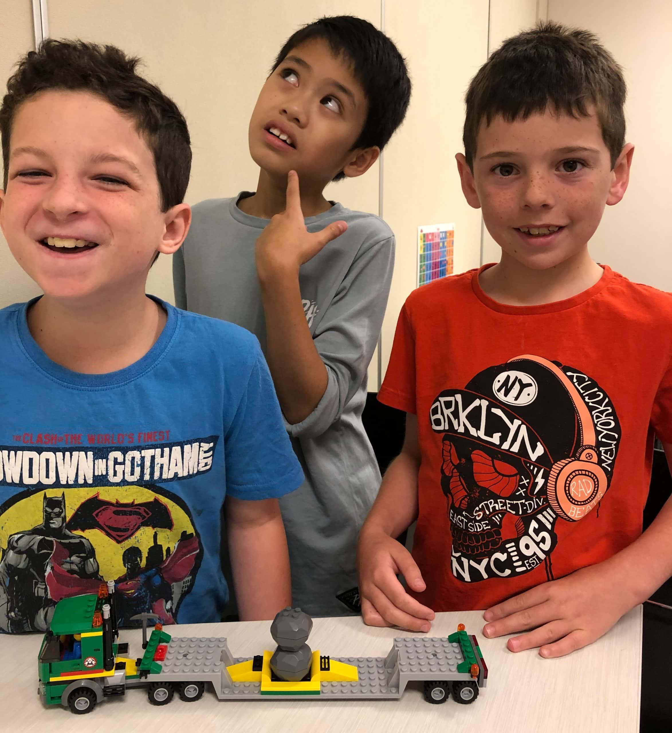 3 boys with their LEGO model